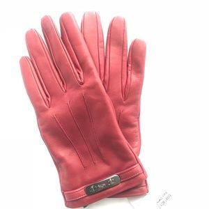 NWT!! Coach leather gloves in black cherry